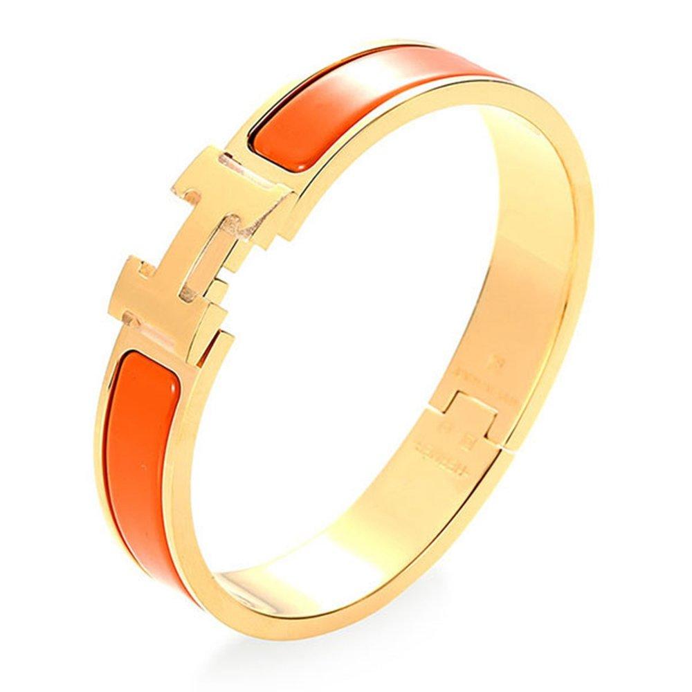 Z.RACLE 12MM H Buckle Bangle Bracelets for Women Gold/Orange
