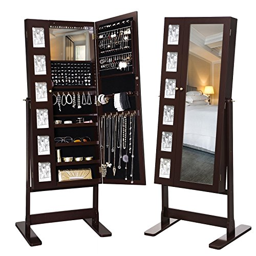 SONGMICS 18 LEDs Jewelry Cabinet Armoire with Mirror, Large Jewelry Organizer 6 Photo Frames Brown UJJC92K (Cabinet Mirror Jewelry)