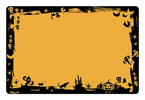 Lunarable Halloween Pet Mat for Food and Water, Black Framework Borders with Halloween Cats Bats Skulls Ghosts Spiders, Rectangle Non-Slip Rubber Mat for Dogs and Cats, Yellow Black -