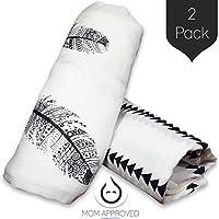 Kaydee Baby Organic Muslin Cotton Swaddle Blankets - Set of 2 - 47x47 Inch La...