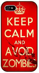 iPhone 4 / 4s Keep Calm and avoid zombies - black plastic case / Keep Calm, Motivation and Inspiration, dead, walking