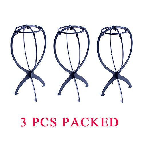 Dansee Wig Stand ,Folding Wig Stand for All Wigs and Hats ,Collapsible Wig Dryer Hat and Cap Holder 3Pcs Packed