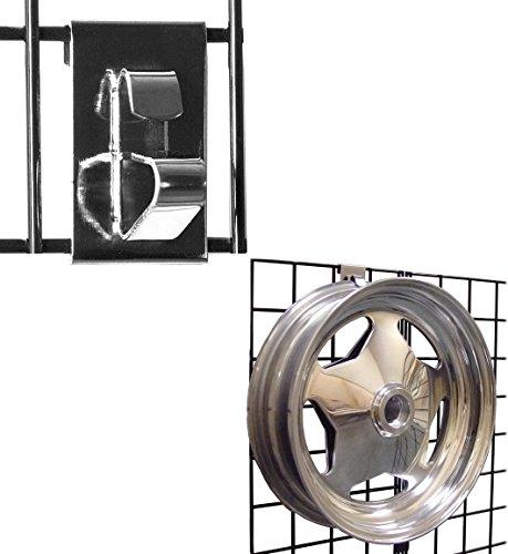 (Gridwall Wheel Holder/Grid Wheel & Rim Display Hook for Gridwall Panels - Chrome - 10 Pack )