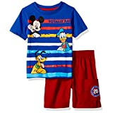 Disney Boys' 2-Piece Mickey Mouse T-Shirt and Twill Short Set, Blue, 18m