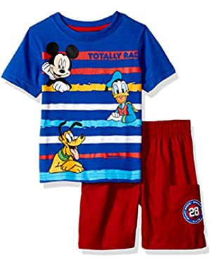 Boys' 2-Piece Mickey Mouse T-Shirt and Twill Short Set