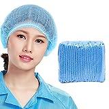 Amycute 100Pcs Disposable Caps Isolation Hat Unisex Non-Woven Blue Dust-Proof