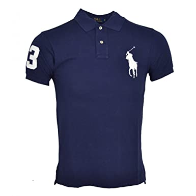 b3e6be90439d5e Polo Ralph Lauren bleu marine big pony blanc slim fit, Bleu, Small   Amazon.fr  Vêtements et accessoires