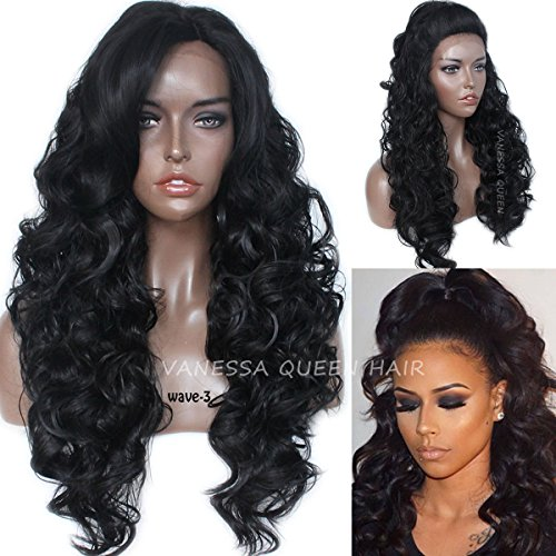 Vanessa Queen Black Hair Long Wavy Synthetic Lace Front Wigs Heat Resistant Hair Wigs for Women 26 Inch - Long Synthetic Hair Wig