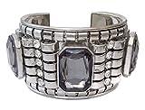 Gypsy Jewels Wide Square Grey Rhinestone Silver Tone Urban Chic Cuff Bracelet