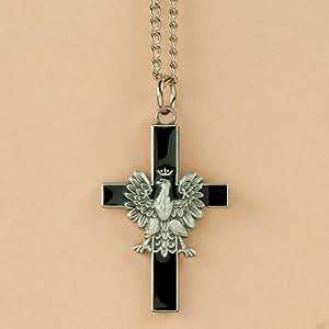 Amazon.com: Necklace - White Eagle Cross, Black: Polish