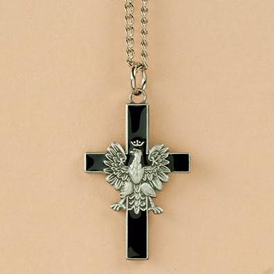 Amazon necklace white eagle cross black polish eagle necklace white eagle cross black mozeypictures Images