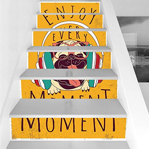 Stair Stickers Wall Stickers,6 PCS Self-adhesive,Pug,Happy Dog Listening Music Enjoy Every Moment Quote Funny Image Pet Animal Fun,Marigold Multicolor,Stair Riser Decal for Living Room, Hall, Kids Roo