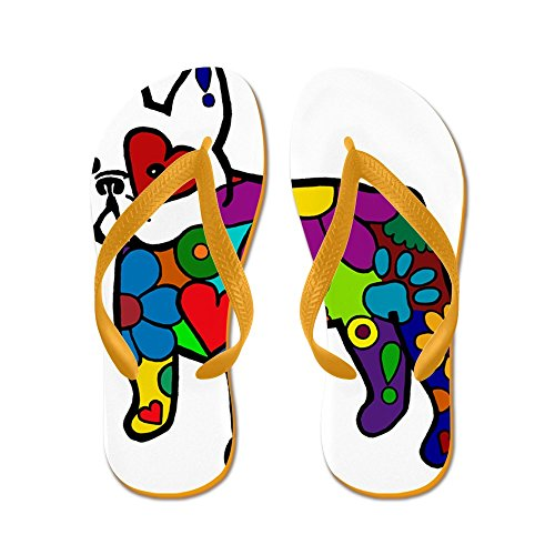 CafePress Frenchie Power - Flip Flops, Funny Thong Sandals, Beach Sandals Orange