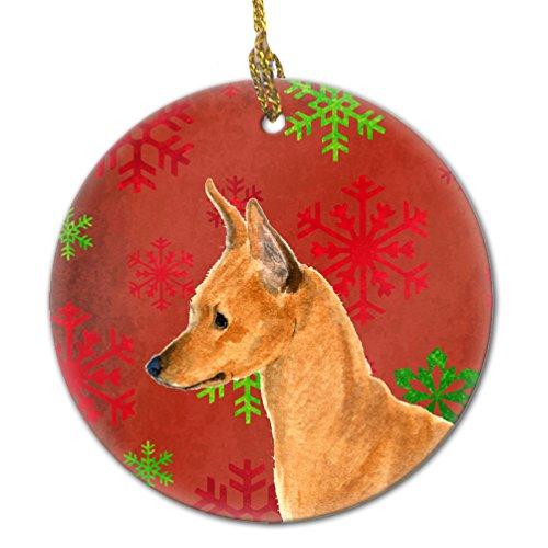 Caroline's Treasures SS4673-CO1 Min Pin Red Snowflakes Holiday Christmas Ceramic Ornament, Multicolor ()