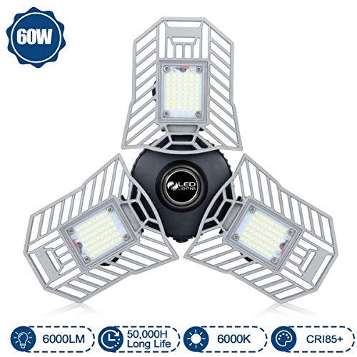 Garage Light 60W LED Garage Lights 6000Lumens Deformable Garage Ceiling Light CRI85+ Led Light for Garage Workshop Basement Laundry Room