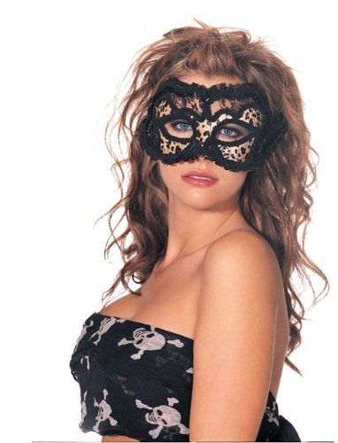 Shirley Of Hollywood  Adult Leopard Velvet And Black Venetian Style Lace Half Mask, Leopard Print, One Size
