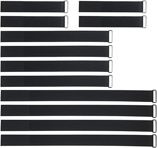 "REUSABLE CINCH STRAP 1/"" Wide Black Nylon Cable Secure Straps Self-Adhesive 12Pcs"