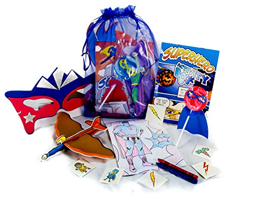 3 Pack of Children's Superhero Party Favors, Coloring Book and Crayons, Superhero Lollipop, Mask, Glider, Fun Tattoos in an Organza Bag
