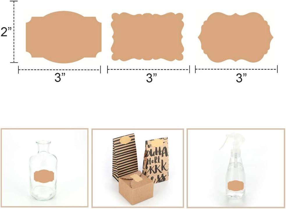 Deer Platz 150pcs Vintage-Etiketten aus Kraftpapier f/ür k/üchenetiketten Aufbewahrungsdosen Selbstklebend Kraftpapier Sticker Glasflaschen Scrapbooking Blanko Kraftpapier Aufkleber 3 Stile