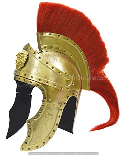 Helmet-Brass Plated Greek Corinthian Helmet-Medieval Knight Helmet With Red Long Plum New Replica (Knight Plated Helmet)