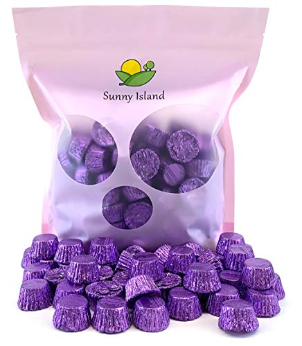 (Sunny Island Bulk - Reese's Miniatures Peanut Butter Cup Milk Chocolate Candy Purple Foil Wrap, 2 Pounds Bag)
