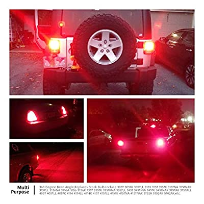 LUYED 2 X 900 Lumens Super Bright 3014 78-EX Chipsets 3056 3156 3057 3157 LED Bulbs with Projector for Brake Lights,Tail Lights,Red: Automotive