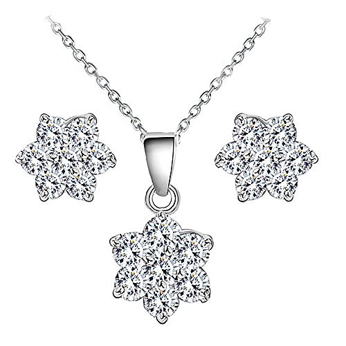 Jewelry Set – Flower Necklace Pendant Stud Earrings for Women Mom Teen Girl - Fashion Prime Gift 18K Gold Plated