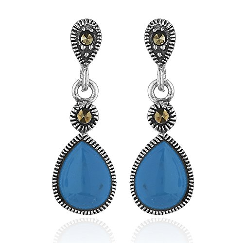 925 Sterling Silver Marcasite Teardrop Blue Reconstructed Turquoise Gemstone Post Dangle - Marcasite Teardrop Earrings