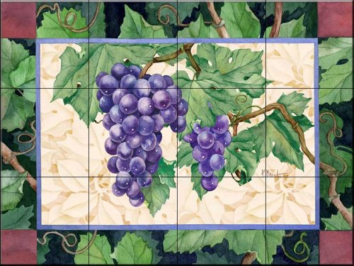 Ceramic Tile Mural - Cabernet Grapes 2 - by Paul Brent - Kitchen backsplash / Bathroom shower Cabernet Pear