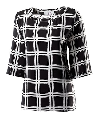 Silverts Disabled Elderly Needs Attractive Fashionable Womens Adaptive Top - Handicapped Top For Women - Designed for Caregiver Assisted Dressing - Black & White Med