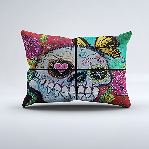Zippered Pillow Covers One side Pillowcases 12x20 Inch Mariposa Sugar Skull Pillow Cases Cushion Cover for Home Sofa Bedding
