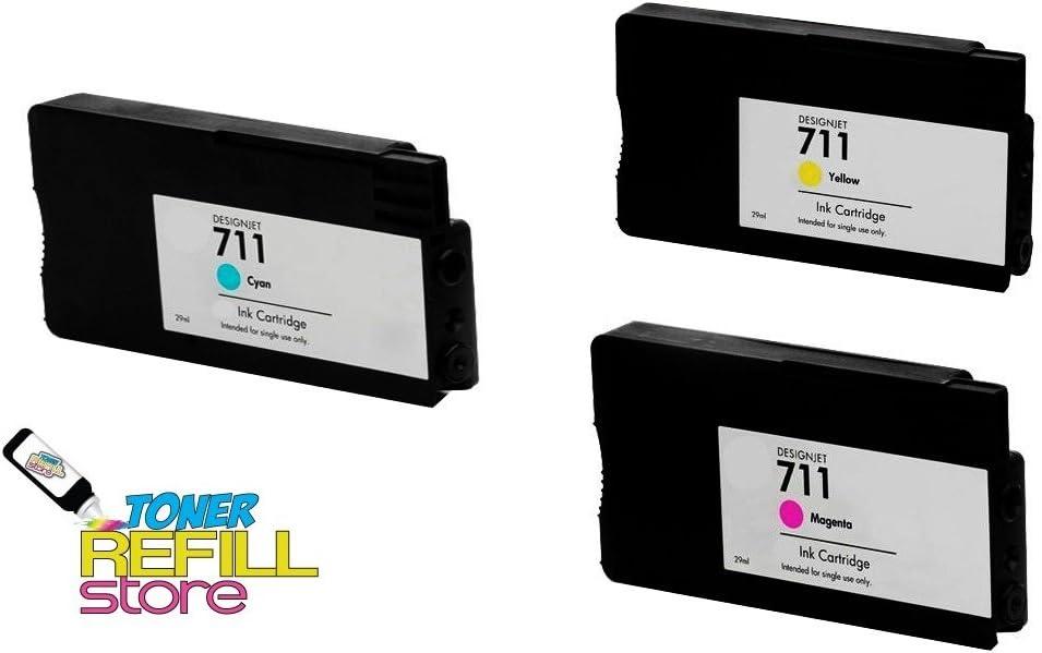 Toner Refill storetm 3 Pack Compatible Cartuchos de tinta de repuesto HP 711 (1 Cian CZ130 A, 1 magenta CZ131 A, 1 amarillo CZ132 A) para uso en la Hewlett Packard DesignJet