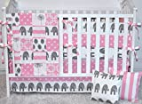5 piece set - Baby Pink Elephants Crib bedding, bumpers, skirt, fitted sheet, safari theme
