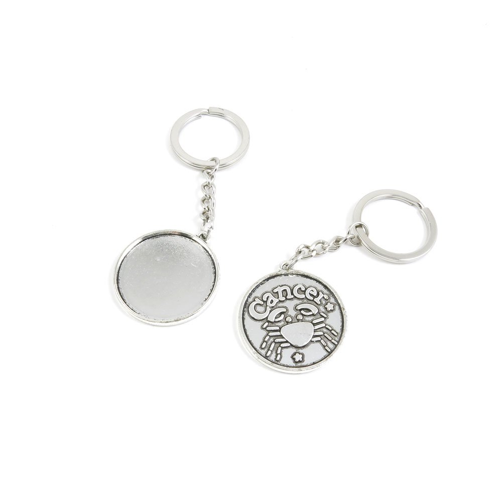 40 Pieces Keychain Door Car Key Chain Tags Keyring Ring Chain Keychain Supplies Antique Silver Tone Wholesale Bulk Lots G0QE1 Cancer Round Cabochon Base