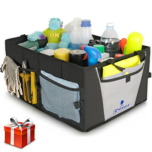 Car Trunk Organizer by 3Niner. Premium Quality. Universal Fit. Free Bonus Glove Box Organizer. Durable Collapsible Cargo Storage for Auto, truck, SUV. Non-Slip tote, Portable Caddy. WATERPROOF. Black