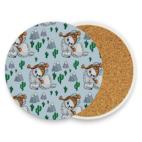 LoveBea Alpaca Baby Wearing Hat Coasters, Protection for Granite, Glass, Soapstone, Sandstone, Marble, Stone Table - Perfect Cork Coasters,Round Cup Mat Pad for Home, Kitchen Or Bar Set of -