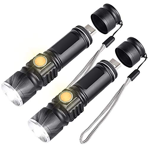 Mini Usb Flashlight - AOMEES LED Flashlight, USB Mini Flashlight, 1200 Lumen Rechargeable Camping Flashlight with Adjustable Focal Length 4 Outdoor Modes, Waterproof, Suitable for Indoor and Outdoor, Emergency (2 Pack)