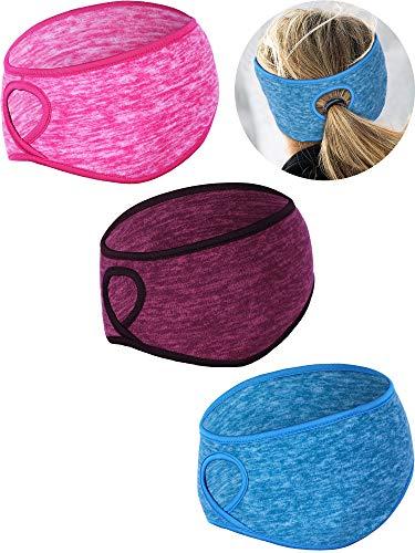 (Tatuo 3 Pieces Fleece Ponytail Headband Earband Winter Running Headband Ear Warmer Headband for Women Girls Outdoor Sports and Fitness (Color Set 7))