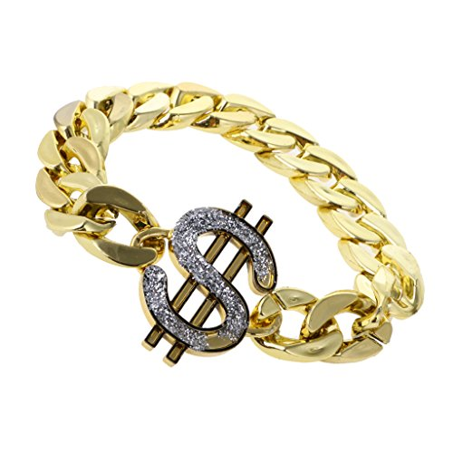 MonkeyJack Plastic Gold US Dollar Sign Bracelet Costume for 70s 80s Gangster Pimp Rapper Fancy Dress