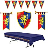 Medieval Party Decorations - Cardboard Herald Trumpets and Crest, Plastic Pennant Banner and Tablecover (Bundle of 5)