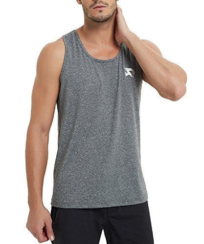 RADHYPE Men Polyester Classic Fit Sleeveless Athletic Tshirt Training Tank Top Grey XXXL ()