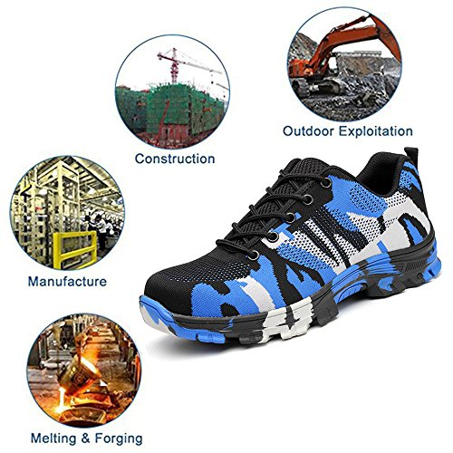 Shoes Mens Footwear Steel Toe Camouflage Industrial Work Puncture Construction Proof Safety TRUPO Blue 6UdwtTxqT