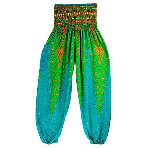 Forthery Harem Pants, Women Men Hippie Bohemian Boho Smocked Waist Aladdin Yoga Pants (Free Size, Green)