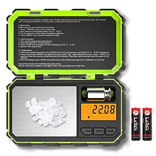 (2019 NEW) Digital Pocket Scale, 200g-0.01g Mini Scale, Highly Accurate Multifunction with Premium Stainless Steel Finish, LCD Backlit Display, 6 Units, Auto Off, Tare (Green,Battery - Mini Digital Scale