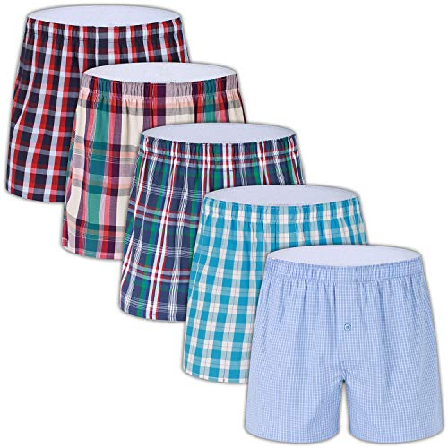 - 5-Pack Men's Colorful Woven Boxer Underwear 100% Cotton Premium Quality Shorts T6,X-Large