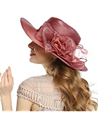178804431d8 Women s Derby Church Dress Hat - Wide Brim Floppy Floral Ribbon UPF  Protection Wedding Sun Hats