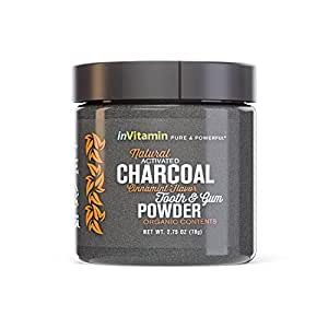 Natural Whitening Tooth & Gum Powder with Activated Charcoal (2.75 oz) (Cinnamint)