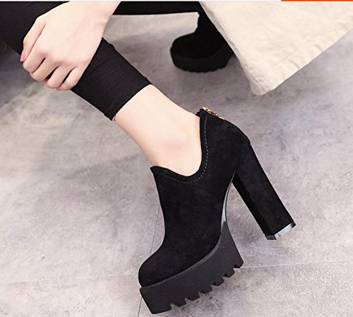 KHSKX-Black Korean Version Of The Thick With High-Heeled Boots And Bare Boots Autumn And Winter The New Round Head Waterproof Taiwan Female Boots Back Zipper 36 7qOvvIJkg