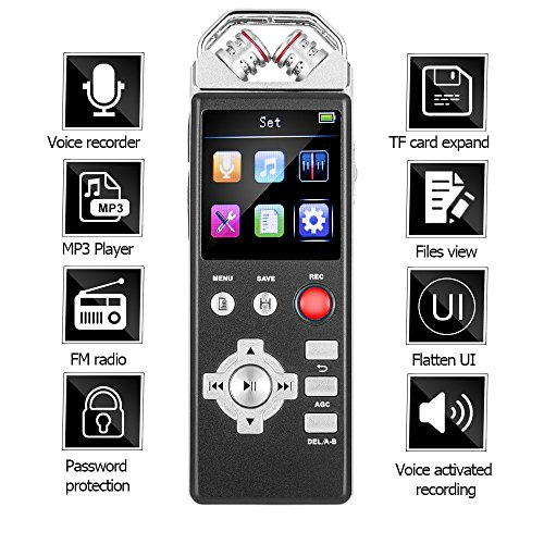 Digital Voice Recorder by Aiworth,8Gb 1536Kbps Voice Activated Recorder FM Radio,Dictaphone,MP3 Player 3 in 1,Built-in 2 inch Colorful Screen and Flat UI,Password,Play speed adjust,TF Card Expansion (Recorder Radio Fm)