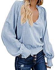 TWGONE Blusa de manga larga con cuello en V para mujer, de algodón y lino, suelta, informal, para uso diario